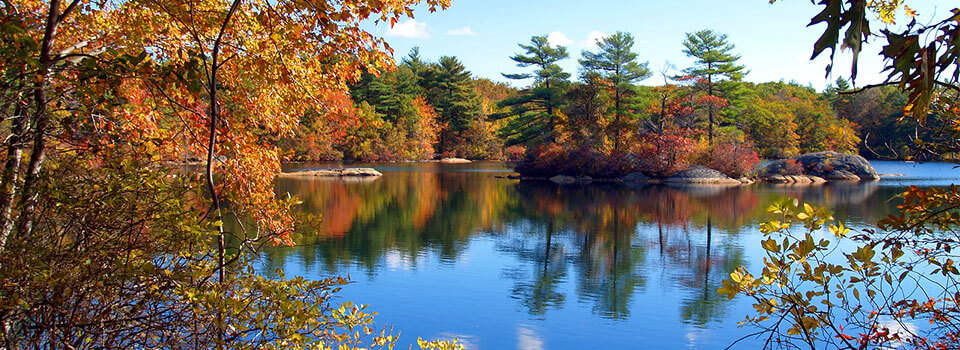lake in early fall with green and orange leaves on trees and a small island in the middle